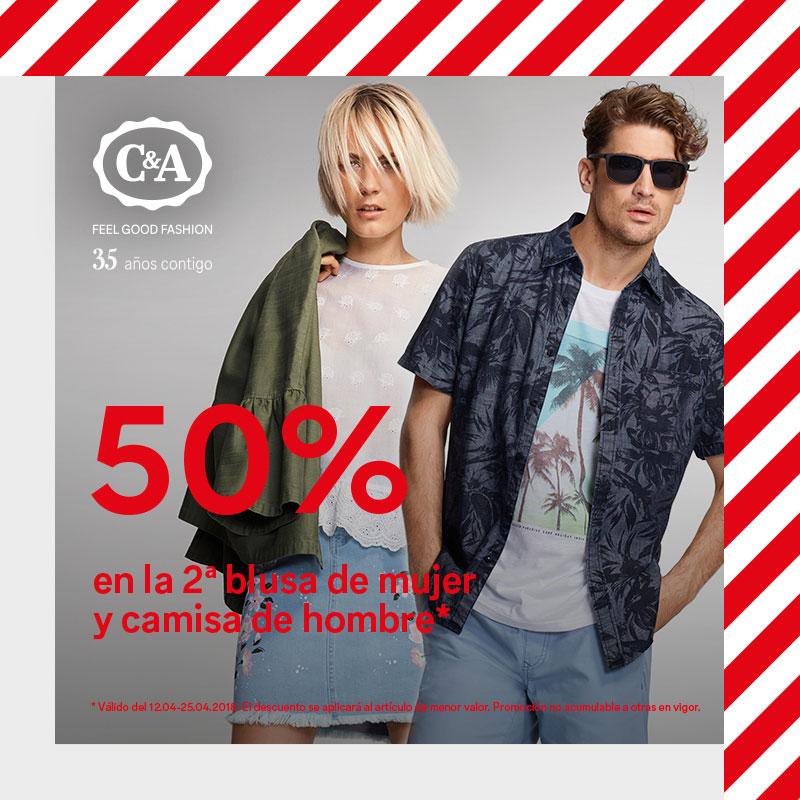 50% en la 2ª prenda en blusa de mujer y camisa de hombre