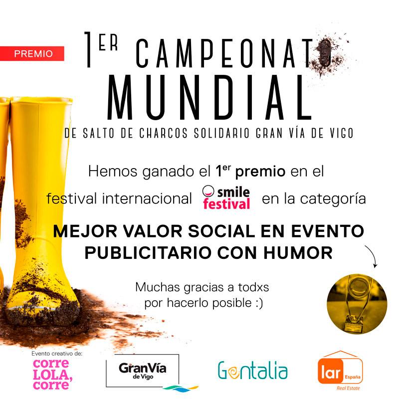 El Mundial de Salto de Charcos Solidario Gran Vía de Vigo premiado en el Smile Festival